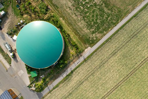 Biogas plant - aerial view